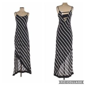 Express black and white striped maxi dress